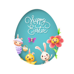 Happy Easter - sheep bunny chicken butterfly and flower peeking behind egg shape hole blue background