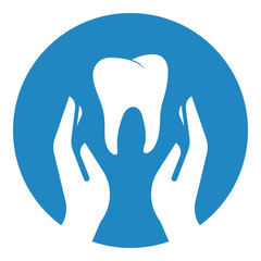 Hands hold tooth. Dental care concept
