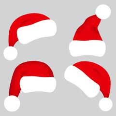 Santa Claus hat collection, vector illustration.