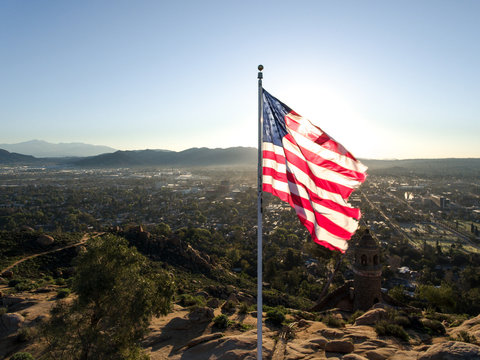 Mountain Top American Flag at Sunrise 02