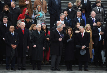 Members of Congress join bipartisan House and Senate leadership on the House steps to pay their respects, as the hearse carrying late U.S. Rep. John Dingell's (D-MI) body