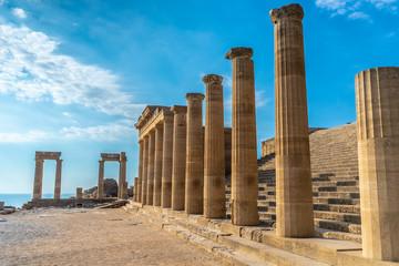 Antique pillars of a beautiful acropolis of Lindos