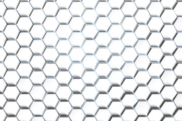 3d rendering, White hexagonal background