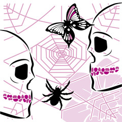 skulls with spiderweb and butterfly