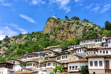 Houses in the hills in Berat, Albania.