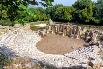 The theater of Butrint with its Proscenium, .Albania.