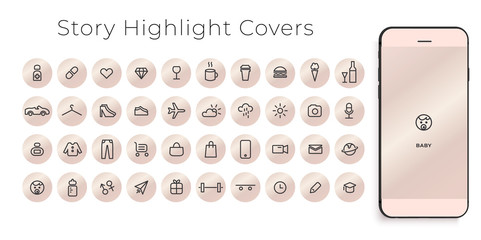 Instagram Highlights Stories Covers line Icons. Perfect for bloggers. Set of 40 highlights covers. Fully editable vector file