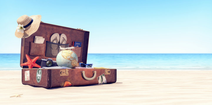 Getting ready for summer holidays - Leather suitcase with travel accessories 3D Rendering