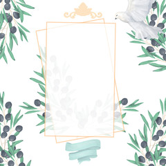 Wedding Invitation, floral invite card, olive floral and magnolia geometric golden square frame print. White background