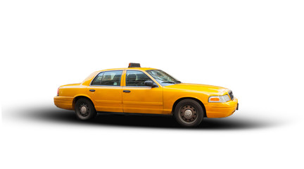 Foto op Canvas New York TAXI Yellow cab isolated on white background.