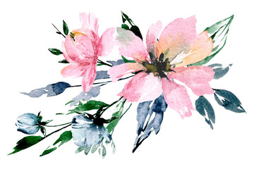 Flowers watercolor painting, pink bouquet for greeting card, invitation, poster, wedding decoration and other printing images. Illustration isolated on white.