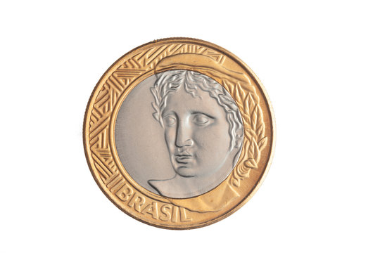 """Brazilian """"1 Real"""" coin on white background"""