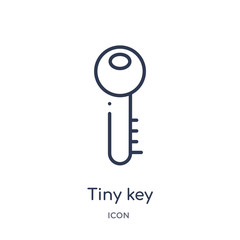 tiny key icon from tools and utensils outline collection. Thin line tiny key icon isolated on white background.