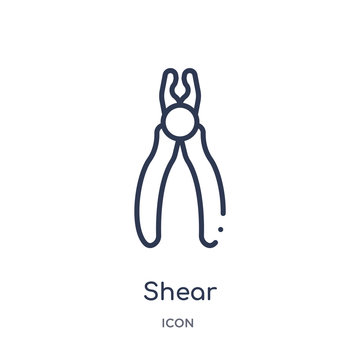 shear icon from tools and utensils outline collection. Thin line shear icon isolated on white background.