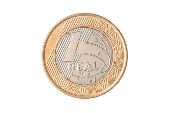 """Brazilian """"1 Real"""" 2015 coin on white background"""
