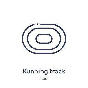 running track icon from sports and competition outline collection. Thin line running track icon isolated on white background.