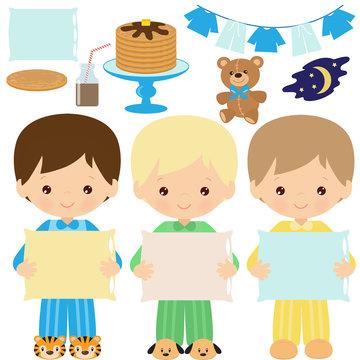Pancakes party vector cartoon illustration