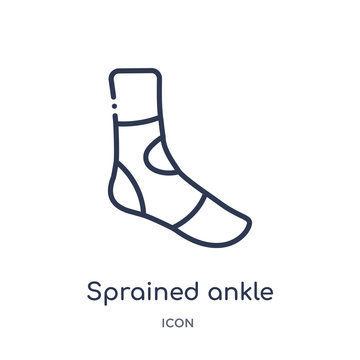sprained ankle icon from sports outline collection. Thin line sprained ankle icon isolated on white background.