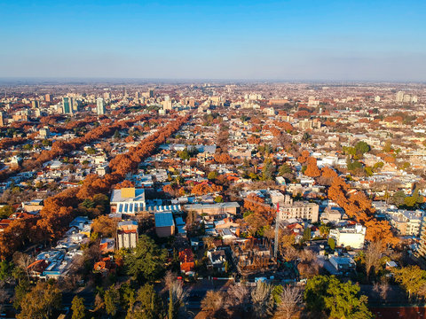 Aerial cityscape of Mendoza in a beautiful autumn day, Argentina