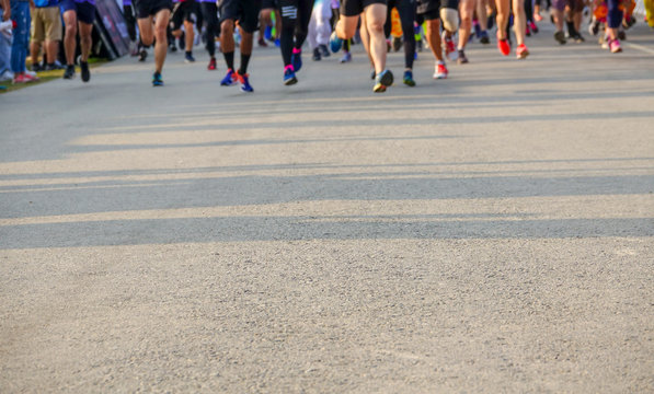Chiang Mai Thailand, February 08, 2019 : Feet of Chiang Mai people running on marathon race.