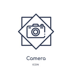 camera icon from signs outline collection. Thin line camera icon isolated on white background.