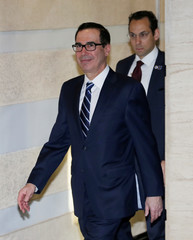 U.S. Treasury Secretary Steven Mnuchin, a member of the U.S. trade delegation to China, leaves a hotel in Beijing