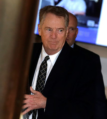 U.S. trade representative Robert Lighthizer, a member of the U.S. trade delegation to China, leaves a hotel in Beijing