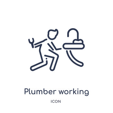 plumber working icon from people outline collection. Thin line plumber working icon isolated on white background.