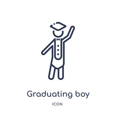 graduating boy icon from people outline collection. Thin line graduating boy icon isolated on white background.