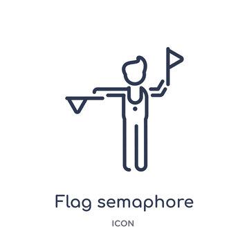 flag semaphore language icon from people outline collection. Thin line flag semaphore language icon isolated on white background.