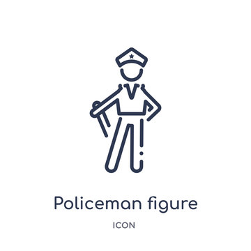 policeman figure icon from people outline collection. Thin line policeman figure icon isolated on white background.