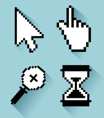 set arrow with hand and magnifying glass with hourglass cursor