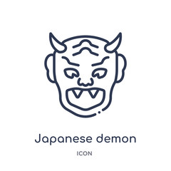 japanese demon icon from other outline collection. Thin line japanese demon icon isolated on white background.