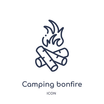 camping bonfire icon from nature outline collection. Thin line camping bonfire icon isolated on white background.