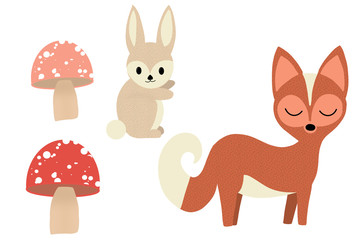 Cute Fox, Rabbit and Mushrooms isolated on white, hand drawn Illustration.