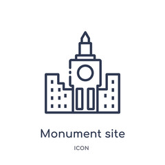monument site icon from monuments outline collection. Thin line monument site icon isolated on white background.