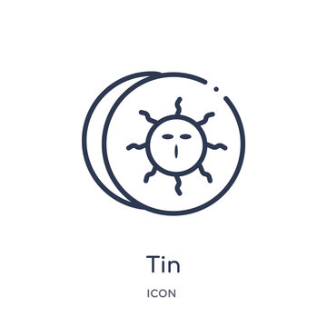 tin icon from zodiac outline collection. Thin line tin icon isolated on white background.
