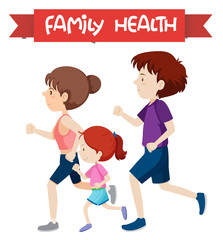 A healthy family jogging