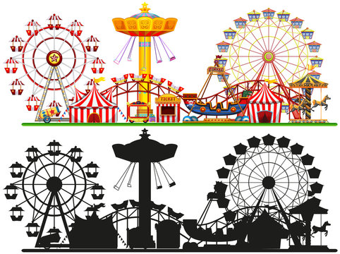 Set of circus background