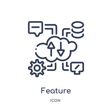 feature icon from web hosting outline collection. Thin line feature icon isolated on white background.