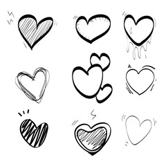 heart doodle set icon vector