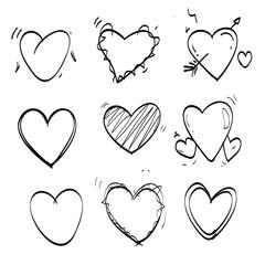 heart doodle set icon vector
