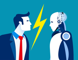 Robot vs human, humanity and technology. Concept business vector, Future, Robotic.