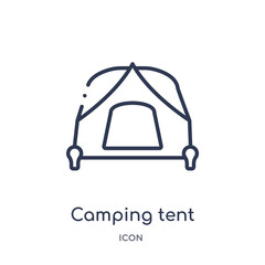camping tent icon from travel outline collection. Thin line camping tent icon isolated on white background.