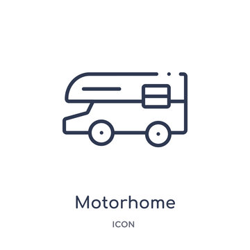 motorhome icon from travel outline collection. Thin line motorhome icon isolated on white background.