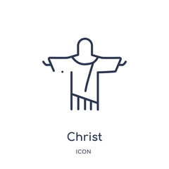 christ icon from travel outline collection. Thin line christ icon isolated on white background.