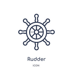 rudder icon from travel outline collection. Thin line rudder icon isolated on white background.
