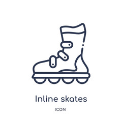 inline skates icon from transportaytan outline collection. Thin line inline skates icon isolated on white background.