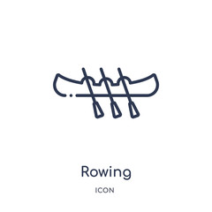 rowing icon from transportaytan outline collection. Thin line rowing icon isolated on white background.