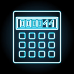 Calculator neon icon. Simple thin line, outline vector of web, minimalistic icons for UI and UX, website or mobile application